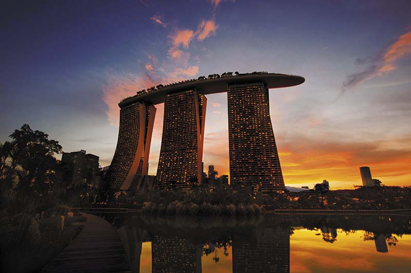 Marina Bay Sands from Gardens by the Bay Sunset