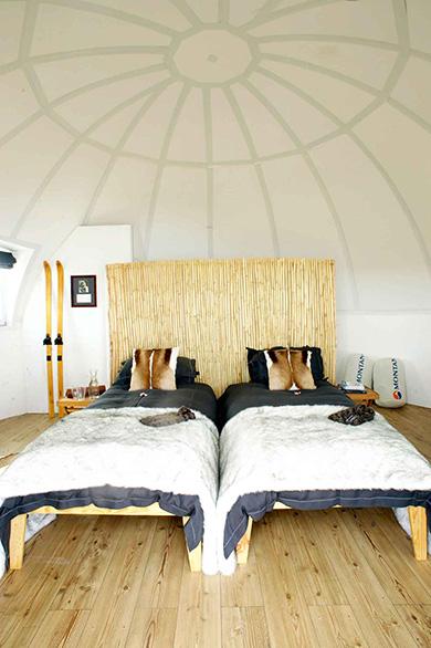 Inside the sleeping pod