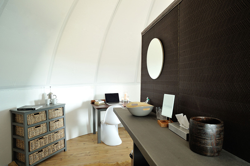 Wash area and toilet inside each sleeping pod