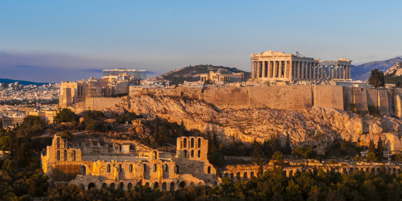 Acropolis Hill, Parthenon, Athens, Greece. Odeon Herodes Atticus. Golden Twilight.