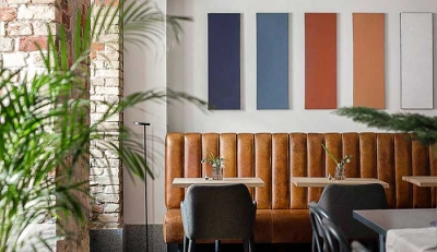 Pirogi cafe: colourful design